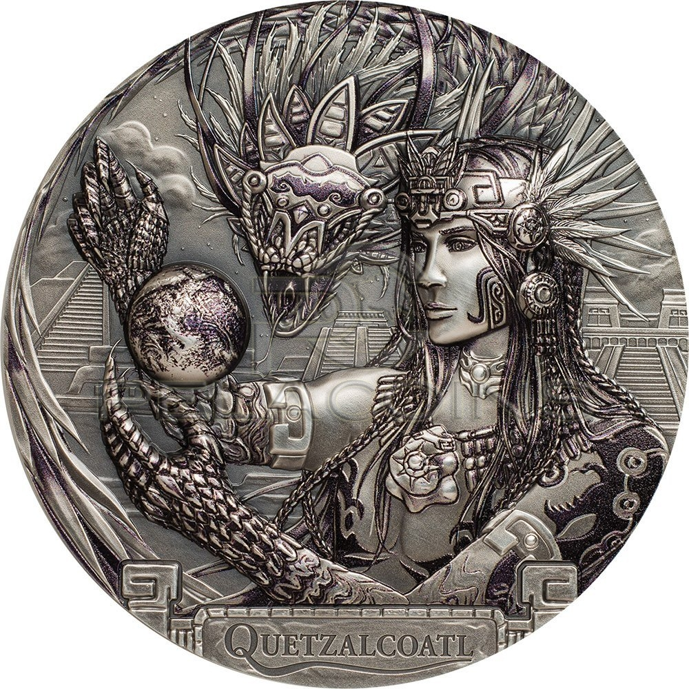 Cook Island 2017 20$ God Quetzalcoatl - Feathered Serpent Gods Of The World 3oz