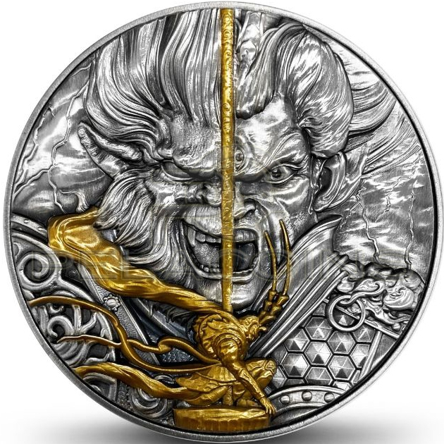 Niue 2020 5$ MONKEY KING VS ERLANG GOD Mythology 13,5oz - 80mm Silver Coin