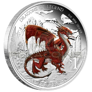Tuvalu 2012 1$ Dragons of Legend - Red Welsh Dragon