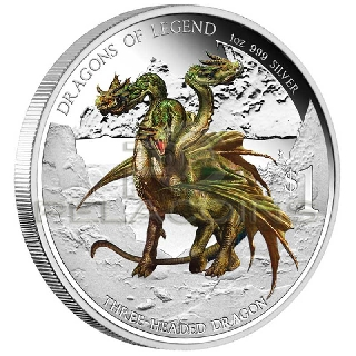 Tuvalu 2012 1$ Dragons of Legend 4 - Three Headed Dragon