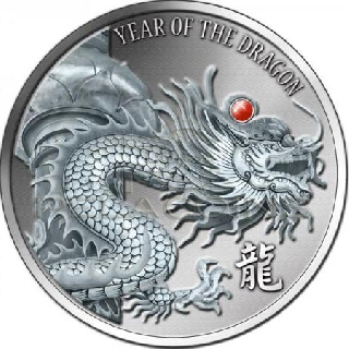 Fiji 2012 20$ Year of the Dragon - Red Fire Rubin 2oz