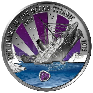Fiji 2012 20$ Heart of the Ocean Titanic Ultra High Relief + Amethyst 2oz
