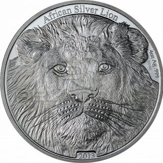 Congo 2013 5000 Francs CFA African Lion 4oz