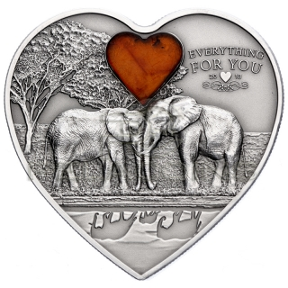 Palau 2013 5$ Everything for You - Elephant Heart Coin with Amber