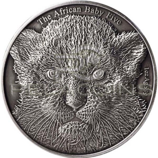 Burundi 2014 5000 Francs The African Baby Five - Baby Leopard Antique finish
