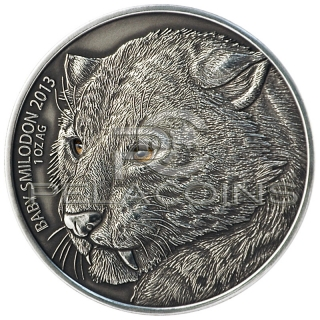 Burkina Faso 2013 1000 Francs Baby Smilodon - Saber Toothed Tiger - Real eye effect