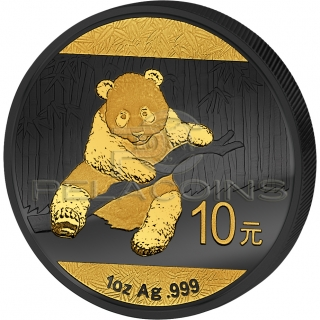 Chiny 2014 10 Yuan Panda Golden Enigma 1oz Ruthenium Goldplated Silver Coin