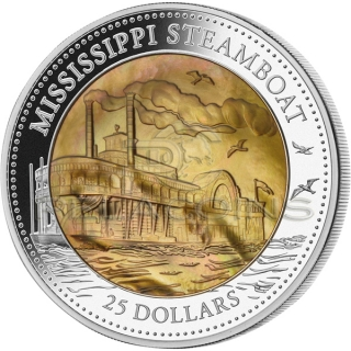 Cook Island 2015 25$ Mississippi Steamboat - Mother of Pearl 5oz