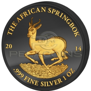 Gabon 2014 1000 Francs African Springbok Golden Enigma 1oz Ruthenium Goldplated Silver Coin