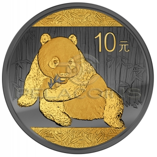China 2015 10 Yuan Panda Golden Enigma 1oz Ruthenium Goldplated Silver Coin