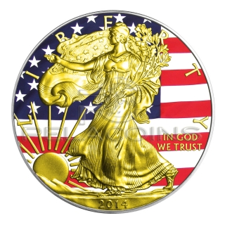 USA 2014 1$ Union Flag Walking Liberty Silver Eagle Gold American Civil War