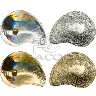 Palau 2014 5$ 2 x Hyriopsis Cumingii Sea Treasures Hologram Silver Coin Set