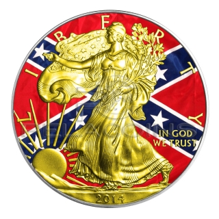 USA 2014 1$ Confederate Flag Walking Liberty Silver Eagle Gold American Civil War
