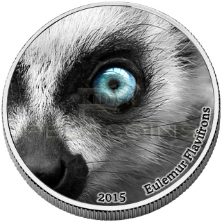Congo 2015 2000 Francs CFA Natures Eyes Lemur 2oz
