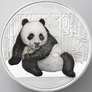 China 2015 10 Yuan Coat Panda with Fluffy Fur 1oz Silver Coin