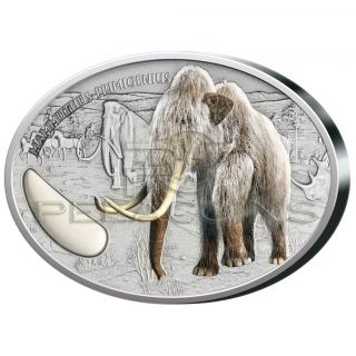 Niger 2015 1500 Francs Wooly Mammoth 2 oz with real Mammoth ivory inlay