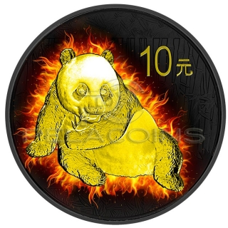 China 2015 10 Yuan Burning Panda 1oz Black Ruthenium - Gold Plated