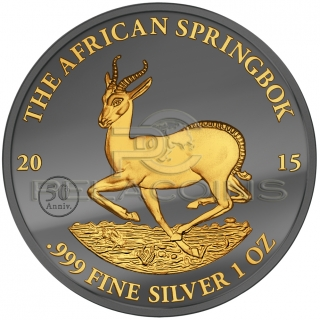 Gabon 2015 1000 Francs African Springbok Golden Enigma 1oz Ruthenium Goldplated Silver Coin