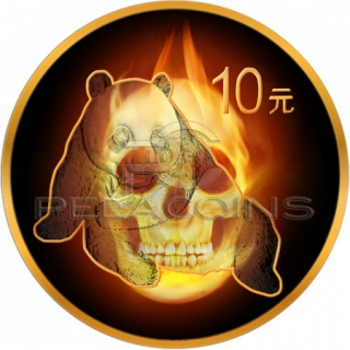 China 2015 10 Yuan Burning Panda Skull 1oz Black Ruthenium - Color, Gold Plated