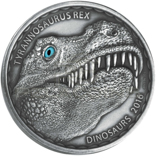 Burkina Faso 2016 1000 Francs - Tyrannosaurus Rex 1oz - real eye effect