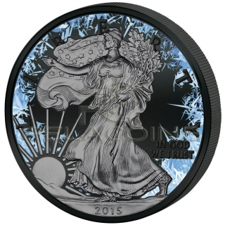 USA 2016 1$ Deep Frozen Walking Liberty Eagle 1oz Ruthenium and Platinum plated