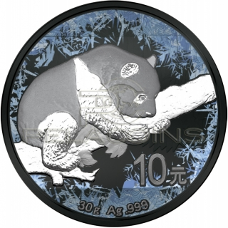 China 2016 10 Yuan Deep Frozen Panda 1oz Ruthenium and Platinum plated