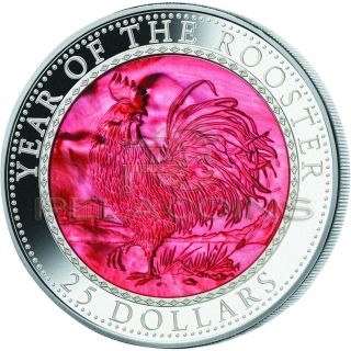 Cook Islands 2017 25$ Mother of Pearl - Lunar Year of the Rooster 5oz / Rok Koguta