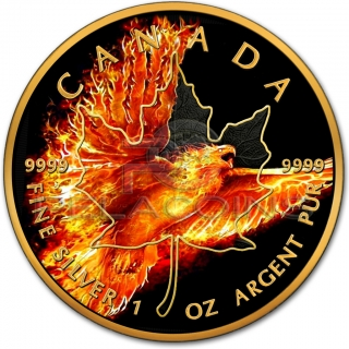 Canada 2016 5$ Maple Leaf - Burning Eagle 1oz Black Ruthenium and 24kt Gold Plated