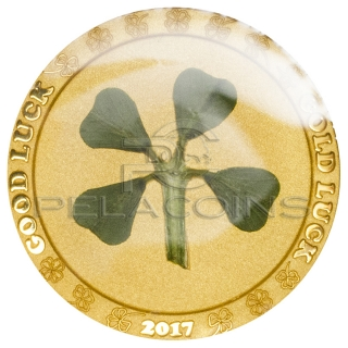 Palau 2017 1$ Four Leaf Clover Gold