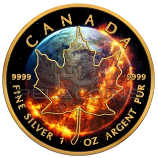 Canada 2016 5$ Apocalypse - Maple Leaf Black Ruthenium and 24kt Gold Plated