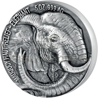 Ivory Coast 2017 5000 Francs Big Five Mauquoy Elephant 5oz