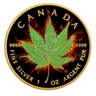 Canada 2017 5$ Maple Leaf - Burning Marihuana - Indica 1oz Black Ruthenium and 24kt Gold Plated