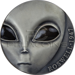 Cameroon 2017 3000 Francs Roswell Incident 70th Anniversary UFO Glow in the dark eyes 3oz