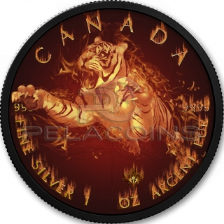 Canada 2017 5$ Maple Leaf - Burning Tiger 1oz Black Ruthenium 24Kt Gold