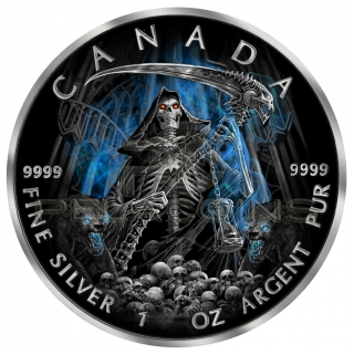 Canada 2016 5$ Maple Leaf Panda Privy Proof - Grim Reaper Armageddon 1oz Ruthenium plated Color