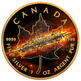 Canada 2017 5$ Maple Leaf - Apocalypse II 1oz Black Ruthenium, 24Kt. Gold plated