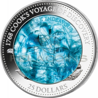 Salomon Islands 2018 25$ HM BARK ENDEAVOUR 250th Anniversary - Mother of Pearl 5oz