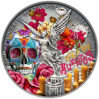 Libertad 2016 1 Onza Day of the Dead Antique finish, color 1oz