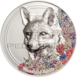 Mongolia 2018 500 Togrog Woodland Spirits Fox 1oz