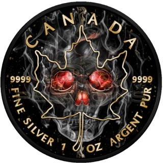 Canada 2018 5$ Maple Leaf - Smoked Skull Black Ruthenium and 24kt Gold Plated