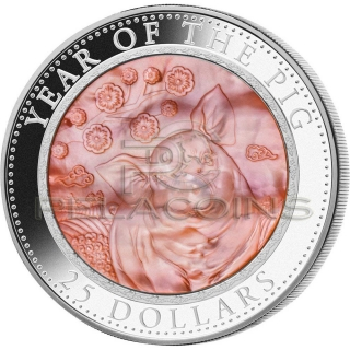 Cook Islands 2019 25$ Mother Of Pearl Lunar - The Year of the Pig 5oz