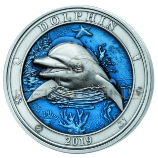 Barbados 2019 5$ Underwater World - Dolphin 3oz