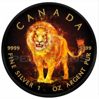 Canada 2018 5$ Burning Animals Maple Leaf - Lion 1oz Ruthenium plated