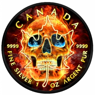 Canada 2018 5$ Burning Skull Maple Leaf 1oz Ruthenium plated