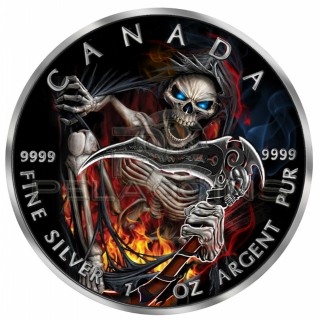 Canada 2018 5$ Maple Leaf - Grim Reaper Armageddon III 1oz Ruthenium plated Color