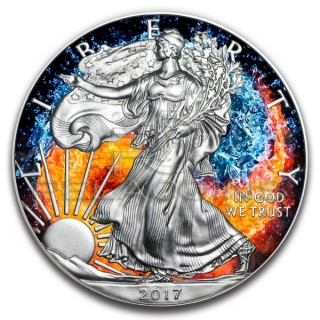 USA 2017 1$ American Eagle Fire and Water Yin Yang 1oz
