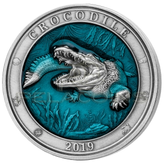 Barbados 2019 5$ Underwater World - Crocodile 3oz