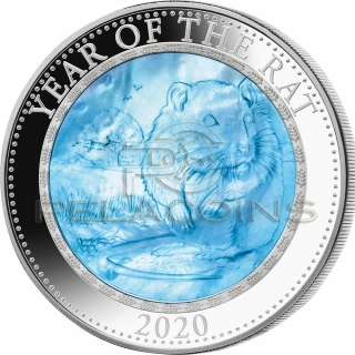 Cook Islands 2020 25$ Mother of Pearl - RAT Lunar Year 5oz