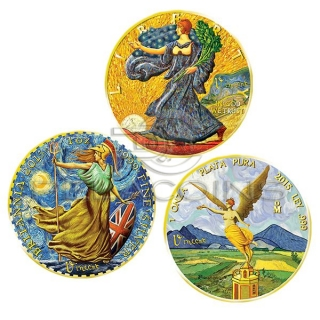 USA, Mexico, United Kingdom 2017 Ounce of Art Van Gogh 3 coin set