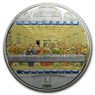 Cook Islands 2018 20$ 3oz Ag + 1/4oz Gold Masterpieces Premium Edition The Last Supper